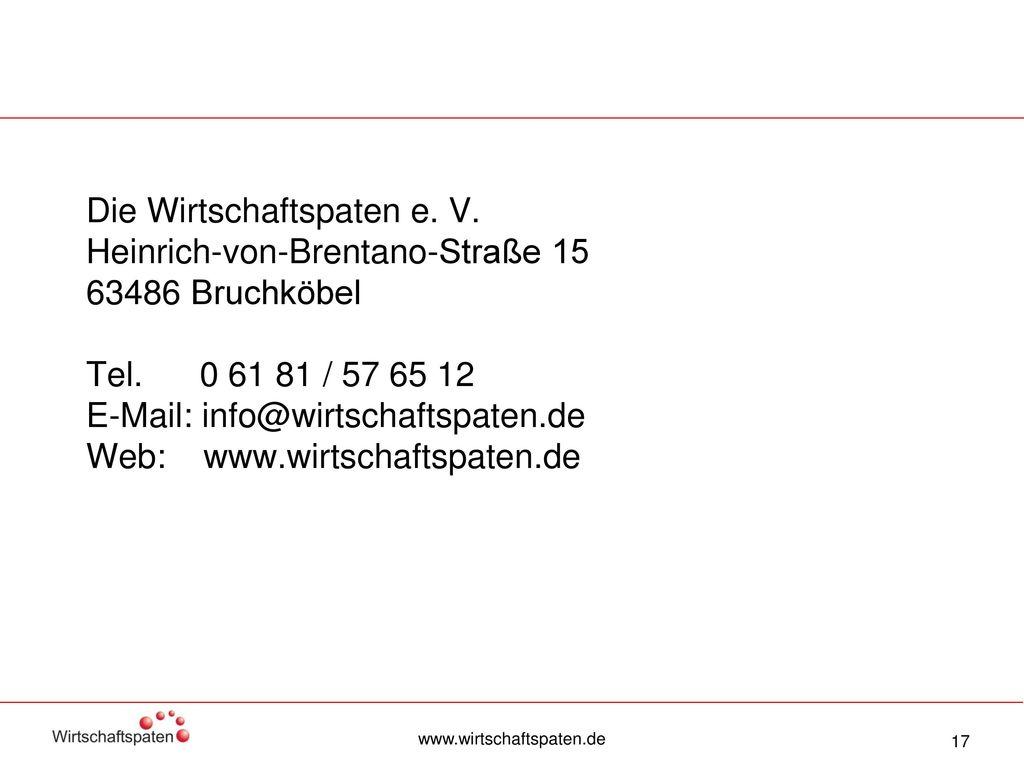 Die Wirtschaftspaten e. V. Heinrich-von-Brentano-Straße 15