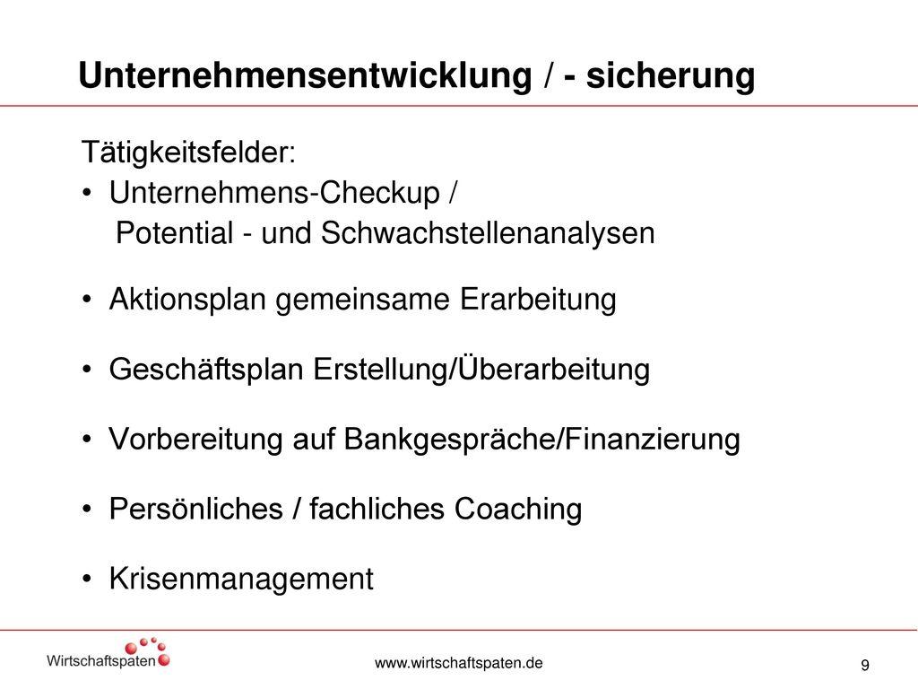 Unternehmensentwicklung / - sicherung
