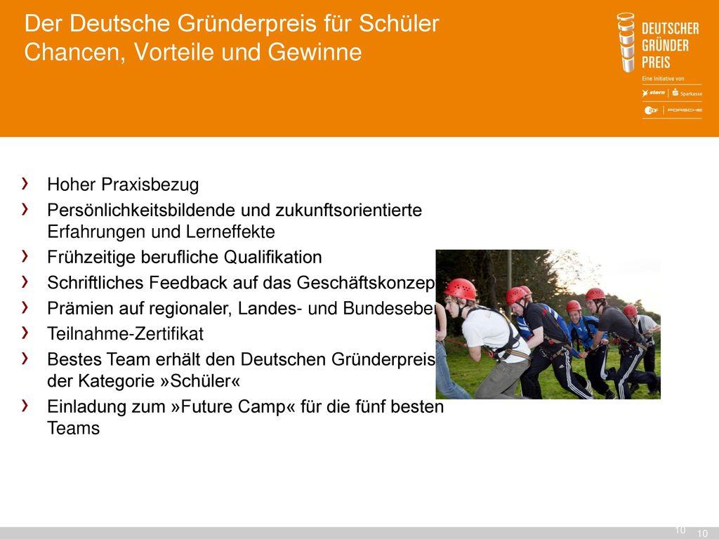 Der Deutsche Gründerpreis für Schüler Chancen, Vorteile und Gewinne