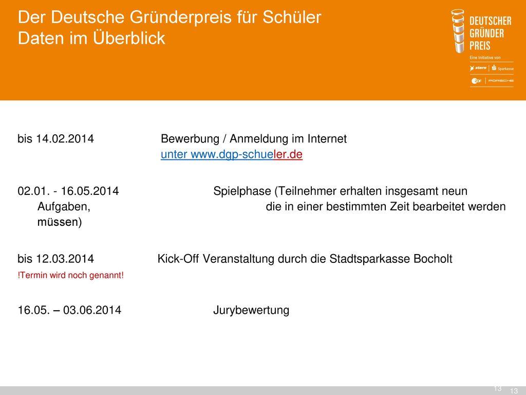 Der Deutsche Gründerpreis für Schüler Daten im Überblick