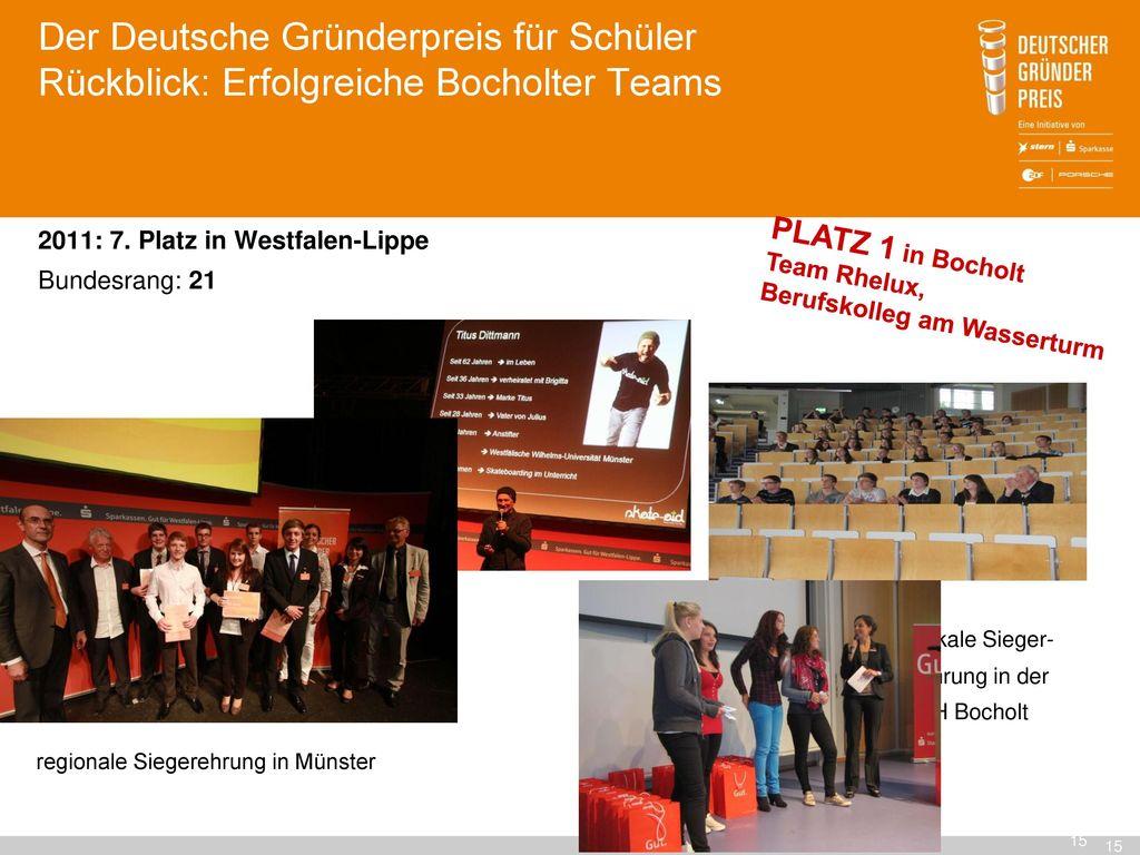 Der Deutsche Gründerpreis für Schüler Rückblick: Erfolgreiche Bocholter Teams