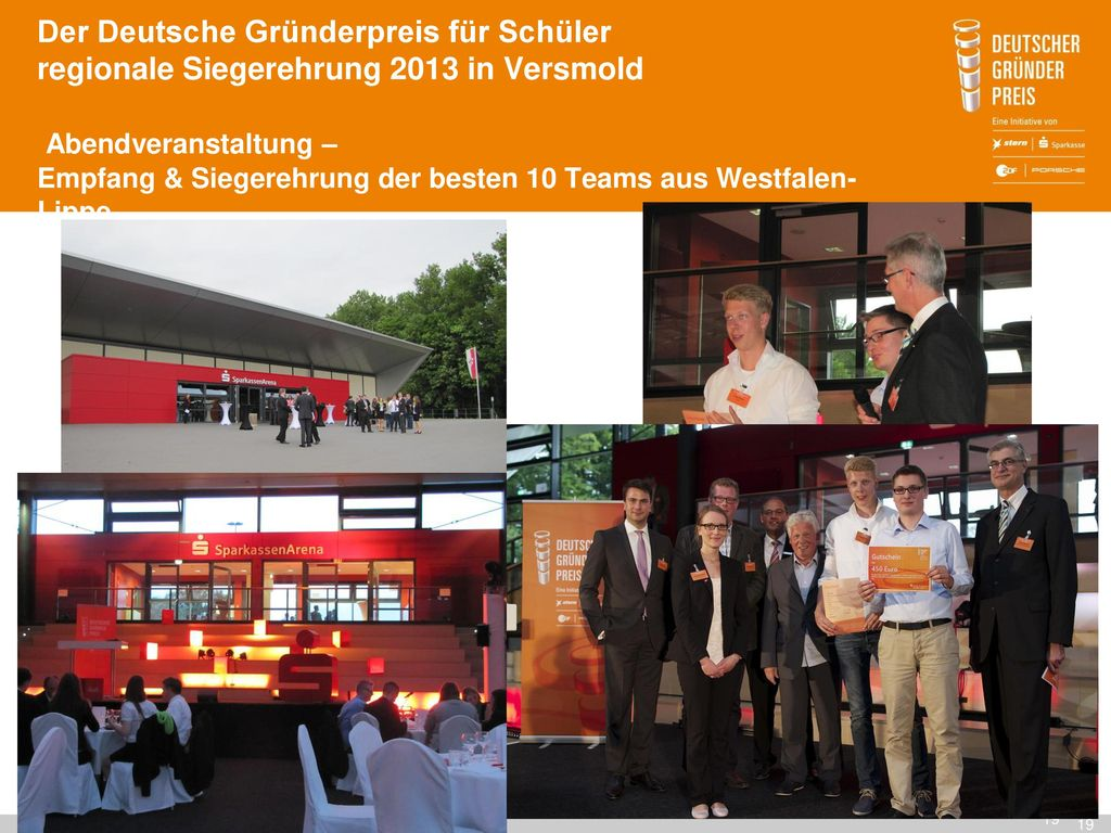 Der Deutsche Gründerpreis für Schüler regionale Siegerehrung 2013 in Versmold Abendveranstaltung – Empfang & Siegerehrung der besten 10 Teams aus Westfalen-Lippe