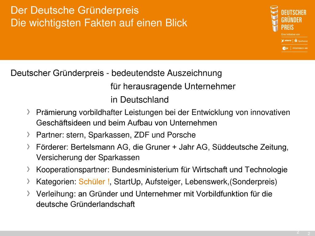 Der Deutsche Gründerpreis Die wichtigsten Fakten auf einen Blick