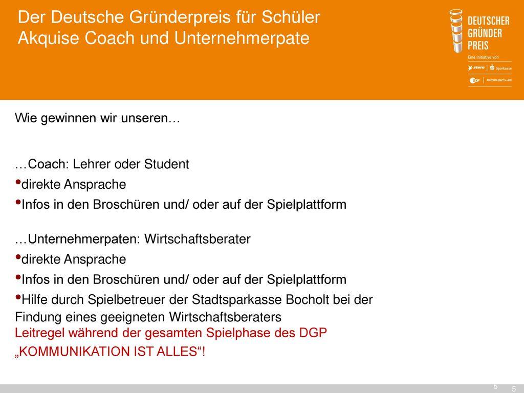 Der Deutsche Gründerpreis für Schüler Akquise Coach und Unternehmerpate