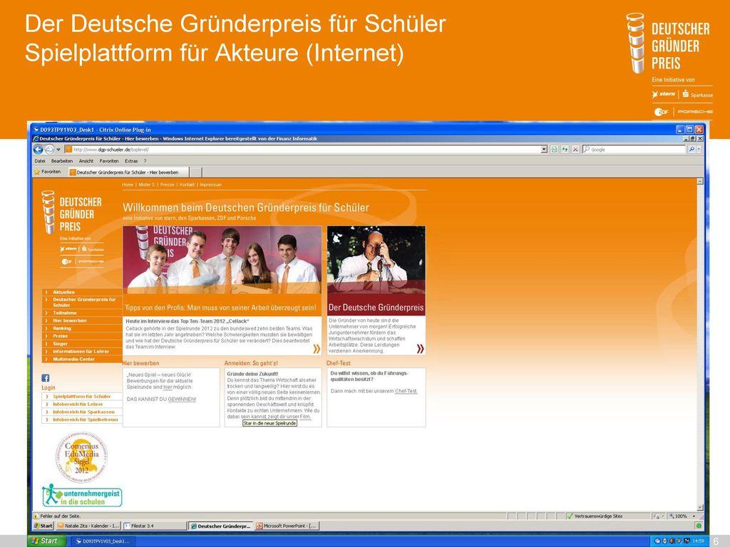 Der Deutsche Gründerpreis für Schüler Spielplattform für Akteure (Internet)