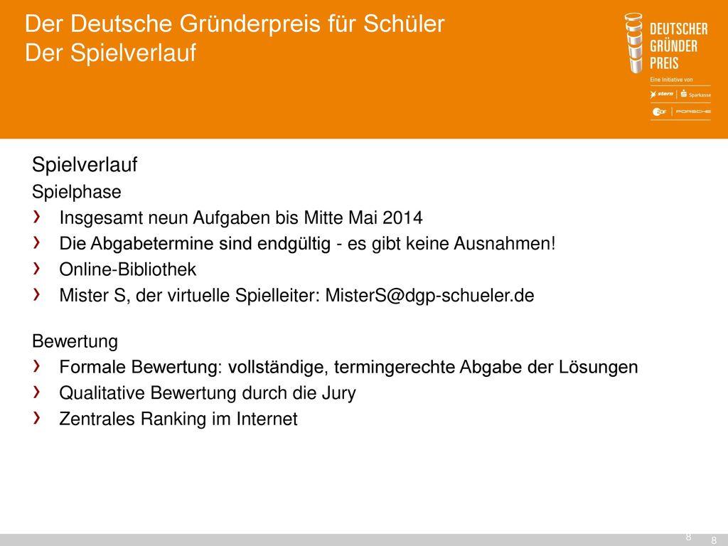 Der Deutsche Gründerpreis für Schüler Der Spielverlauf