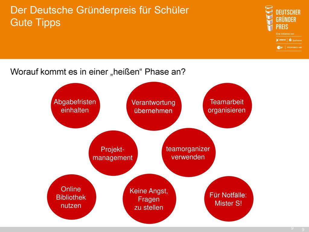 Der Deutsche Gründerpreis für Schüler Gute Tipps