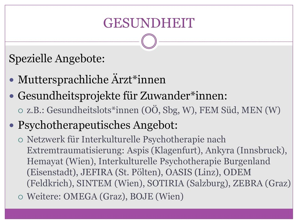GESUNDHEIT Spezielle Angebote: Muttersprachliche Ärzt*innen