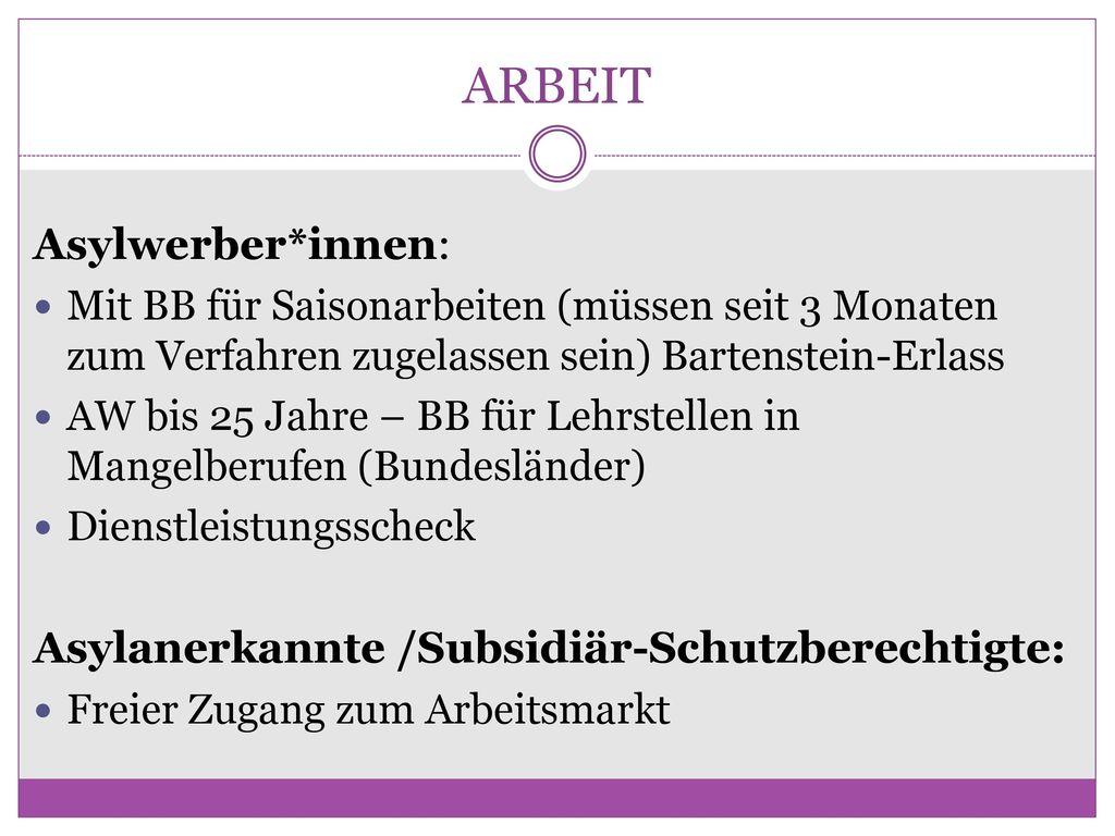 ARBEIT Asylwerber*innen: Asylanerkannte /Subsidiär-Schutzberechtigte: