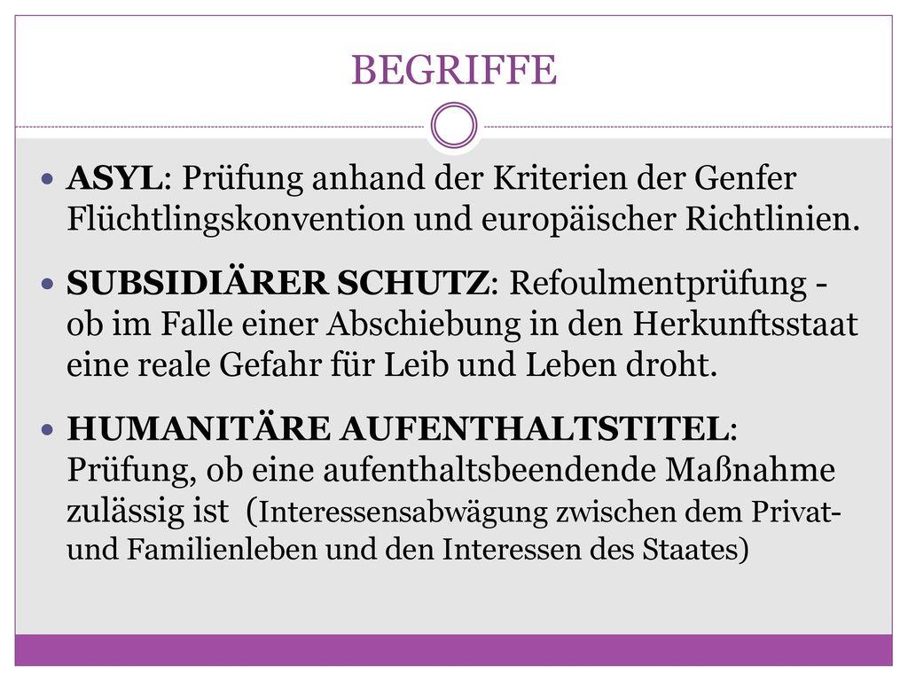 BEGRIFFE ASYL: Prüfung anhand der Kriterien der Genfer Flüchtlingskonvention und europäischer Richtlinien.