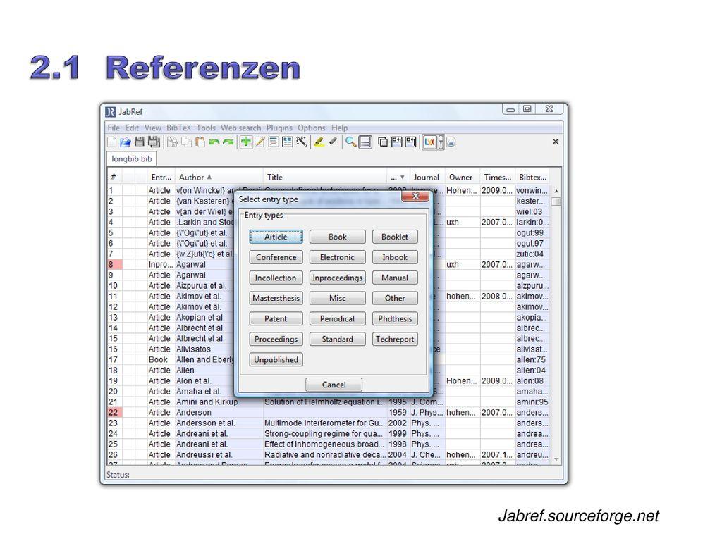2.1 Referenzen Jabref.sourceforge.net