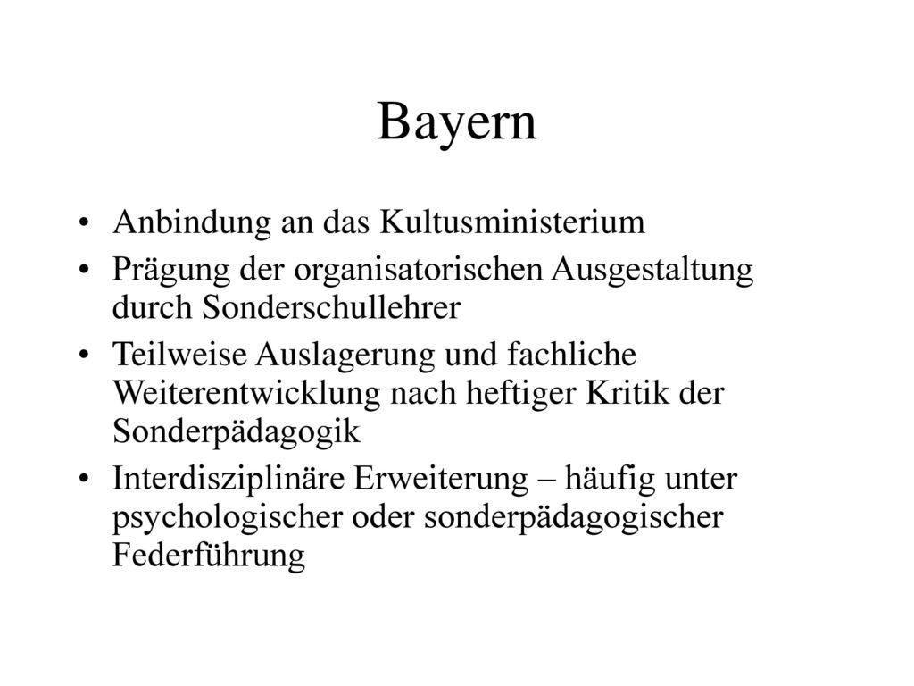Bayern Anbindung an das Kultusministerium