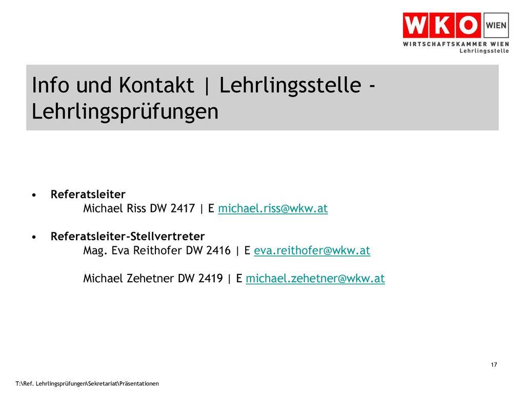 Info und Kontakt | Lehrlingsstelle - Lehrlingsprüfungen