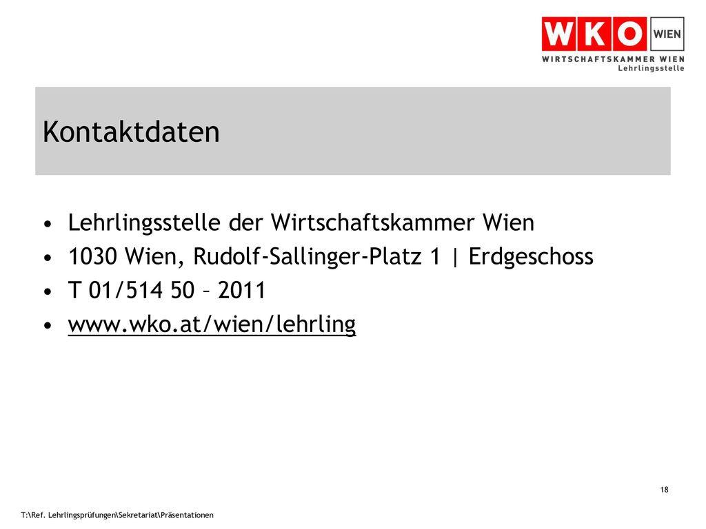 Kontaktdaten Lehrlingsstelle der Wirtschaftskammer Wien