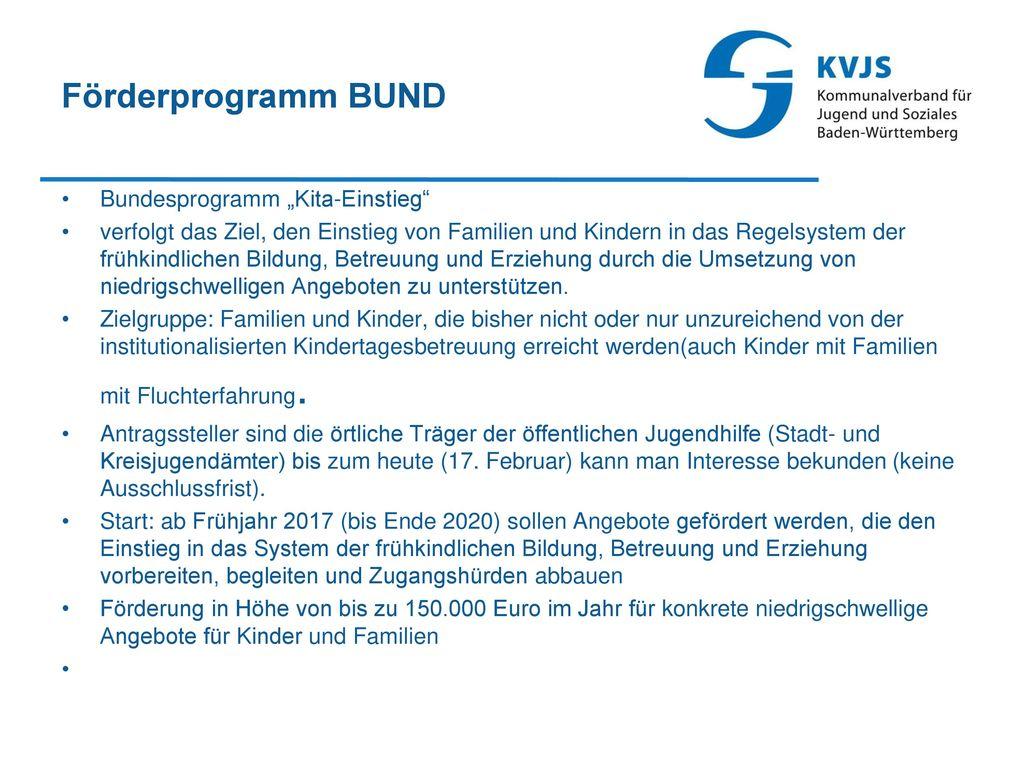 """Förderprogramm BUND Bundesprogramm """"Kita-Einstieg"""