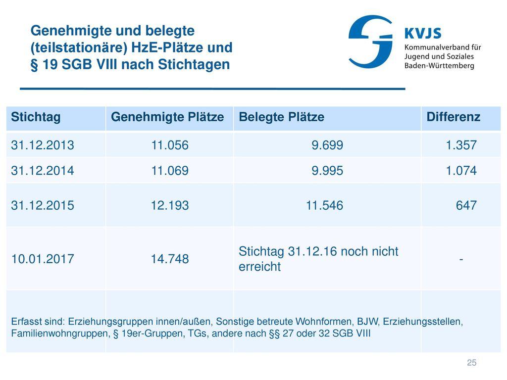Genehmigte und belegte (teilstationäre) HzE-Plätze und § 19 SGB VIII nach Stichtagen