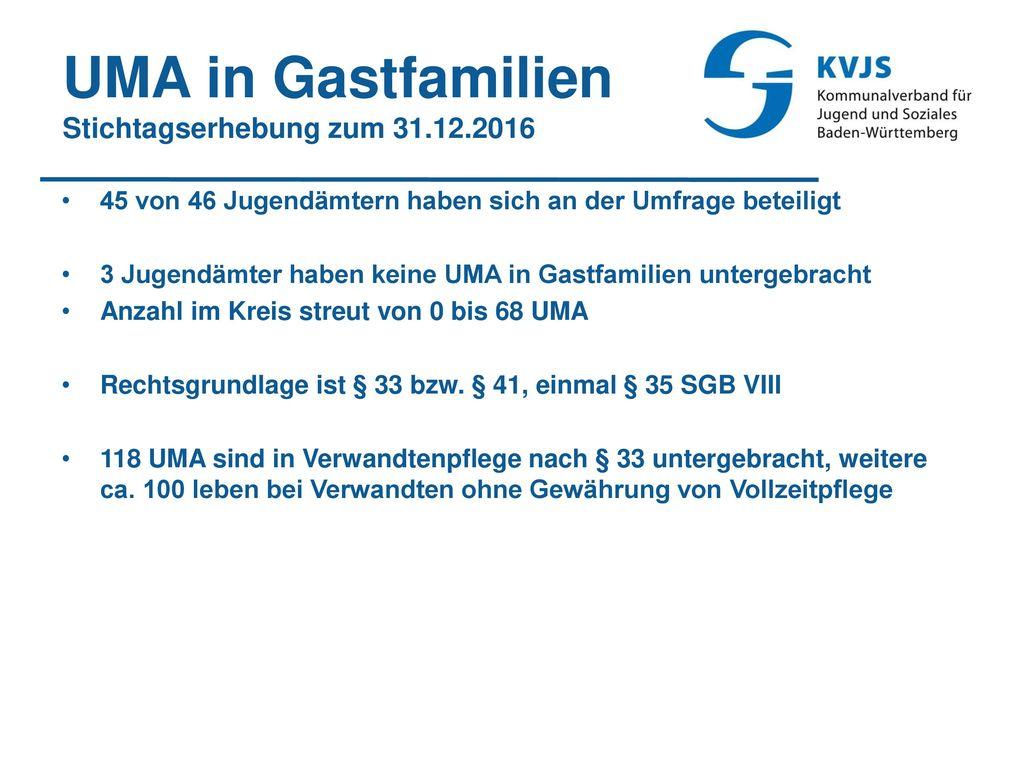 UMA in Gastfamilien Stichtagserhebung zum 31.12.2016