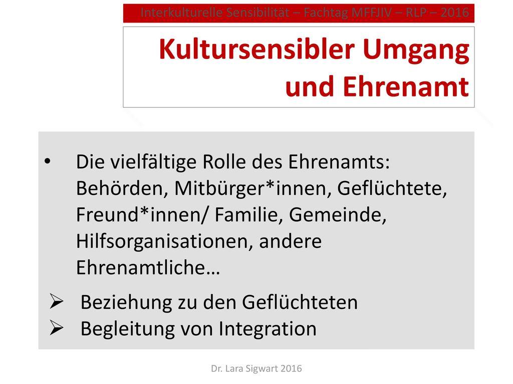 Kultursensibler Umgang und Ehrenamt