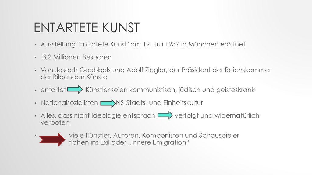 Entartete Kunst Ausstellung Entartete Kunst am 19. Juli 1937 in München eröffnet. 3,2 Millionen Besucher.