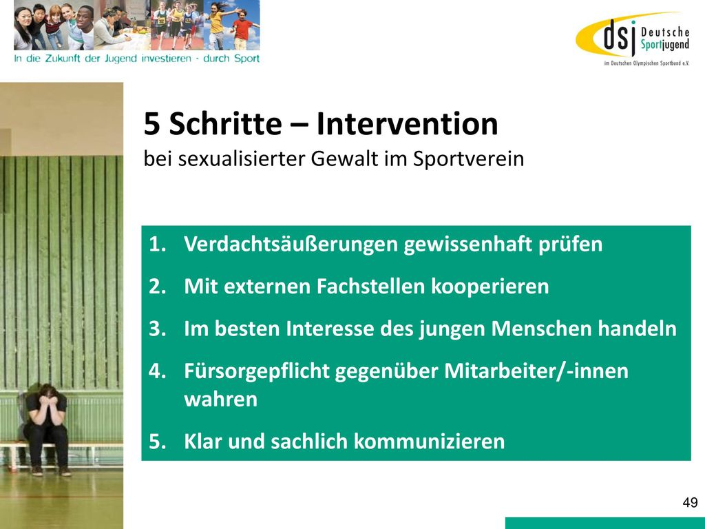 5 Schritte – Intervention bei sexualisierter Gewalt im Sportverein