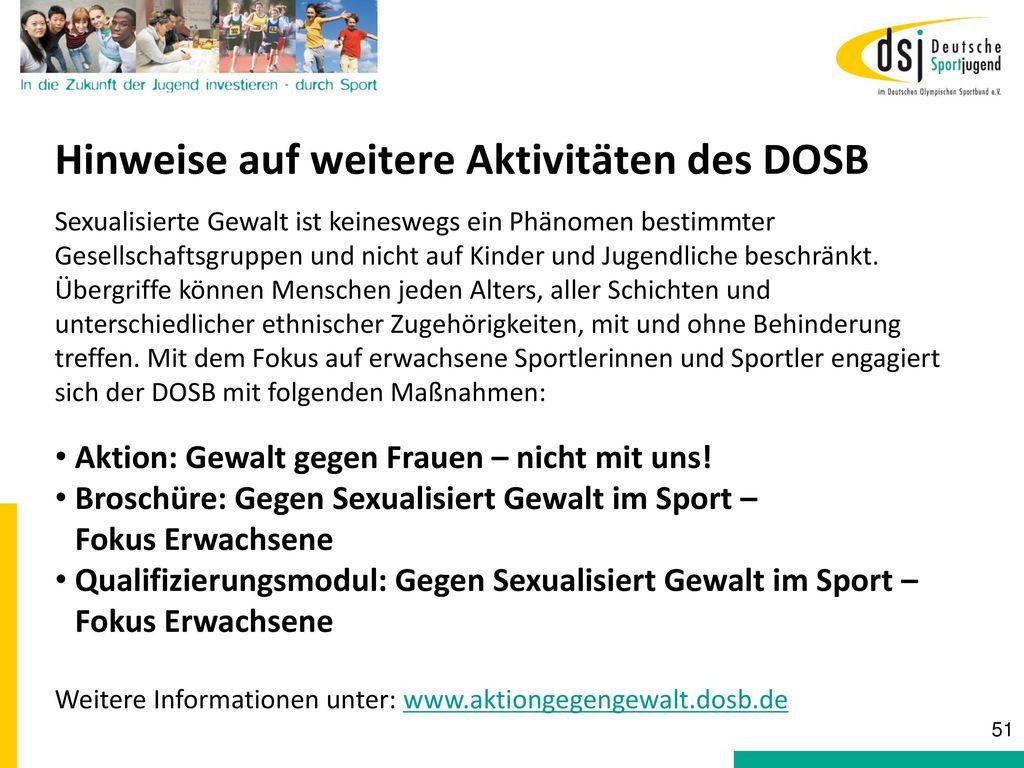 Hinweise auf weitere Aktivitäten des DOSB