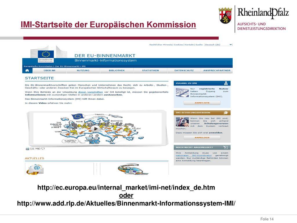 IMI-Startseite der Europäischen Kommission