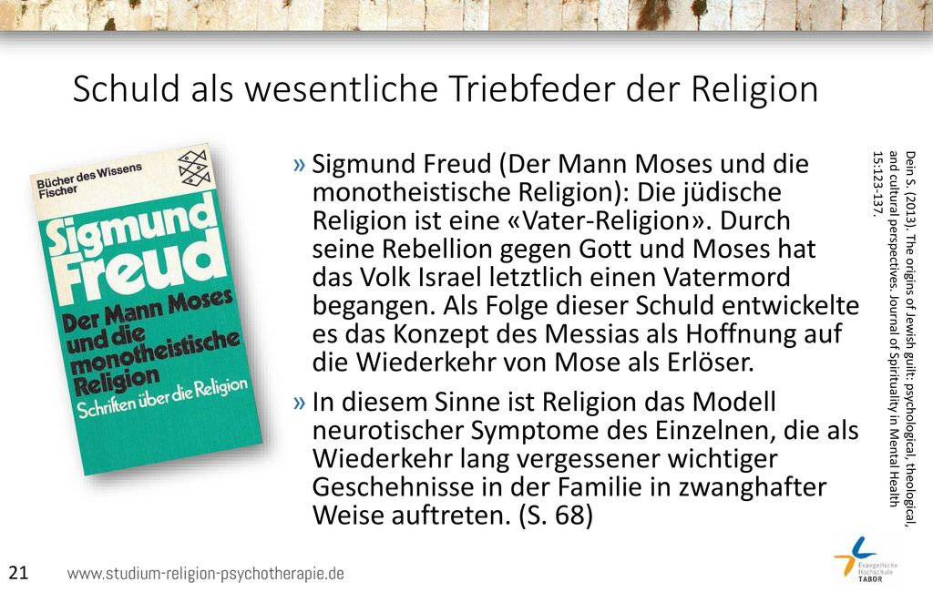 Schuld als wesentliche Triebfeder der Religion
