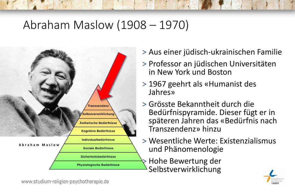 Abraham Maslow (1908 – 1970) Aus einer jüdisch-ukrainischen Familie