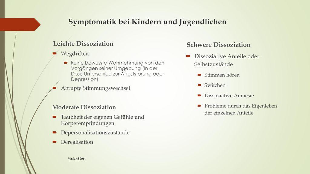 Symptomatik bei Kindern und Jugendlichen