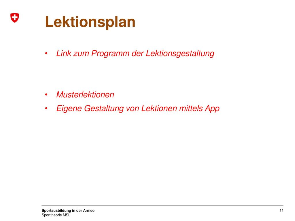 Lektionsplan Link zum Programm der Lektionsgestaltung Musterlektionen