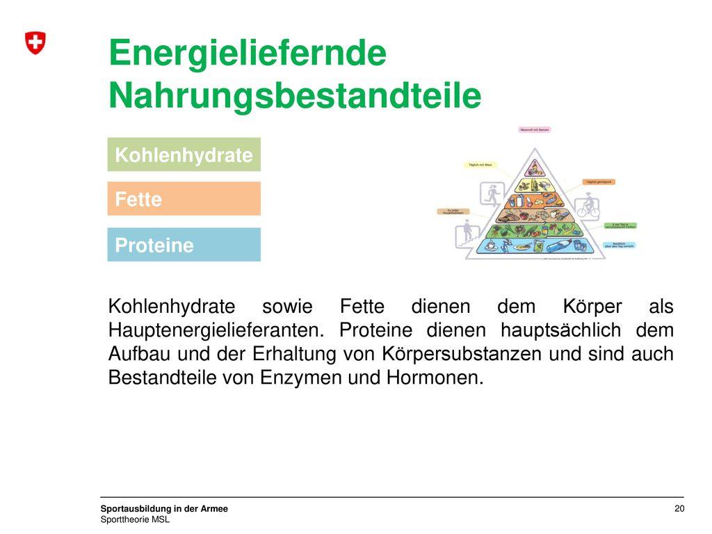 Energieliefernde Nahrungsbestandteile