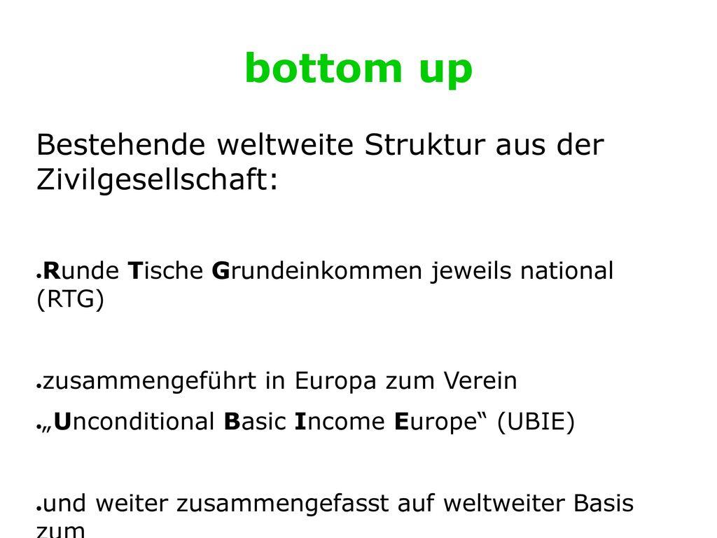bottom up Bestehende weltweite Struktur aus der Zivilgesellschaft: