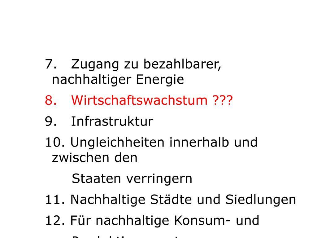 7. Zugang zu bezahlbarer, nachhaltiger Energie