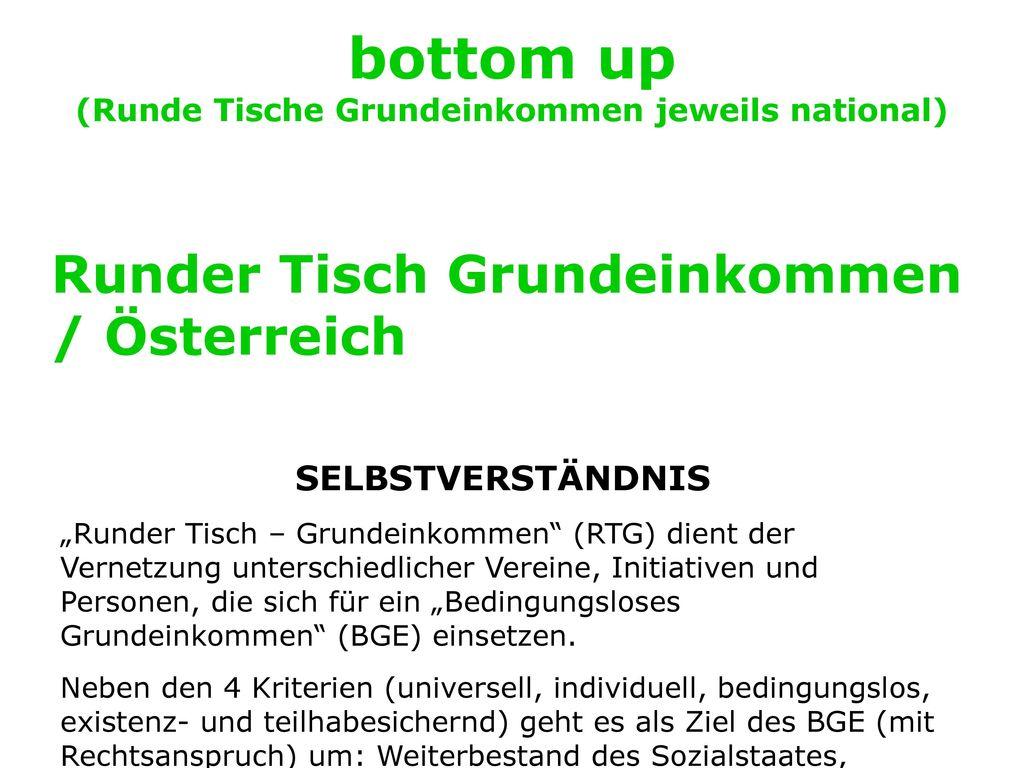 bottom up (Runde Tische Grundeinkommen jeweils national)