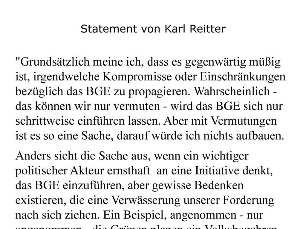 Statement von Karl Reitter