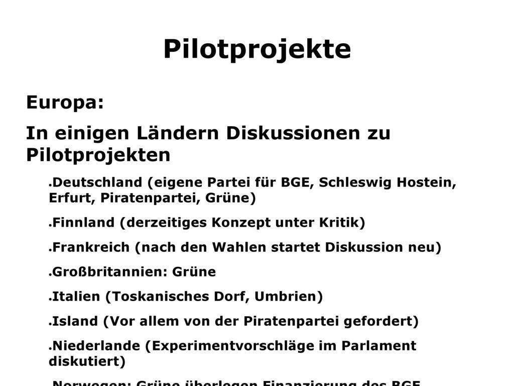 Pilotprojekte Europa: