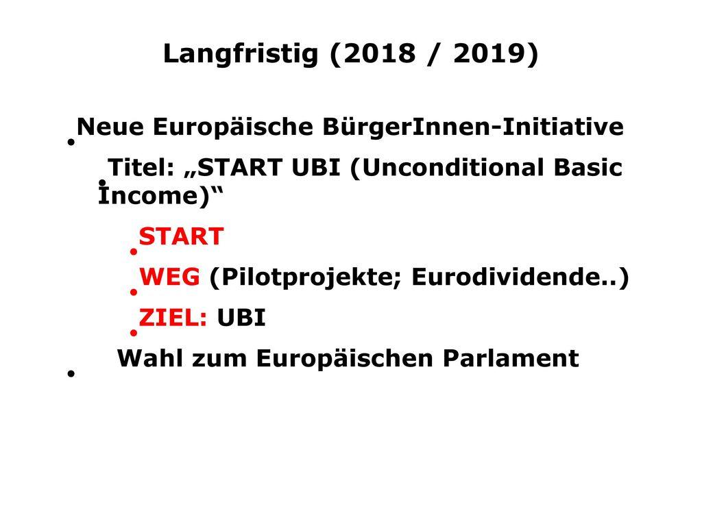 Langfristig (2018 / 2019) Neue Europäische BürgerInnen-Initiative