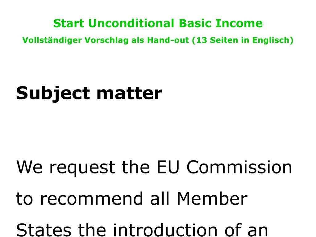 Start Unconditional Basic Income Vollständiger Vorschlag als Hand-out (13 Seiten in Englisch)