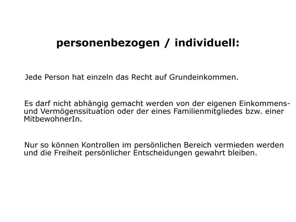 personenbezogen / individuell: