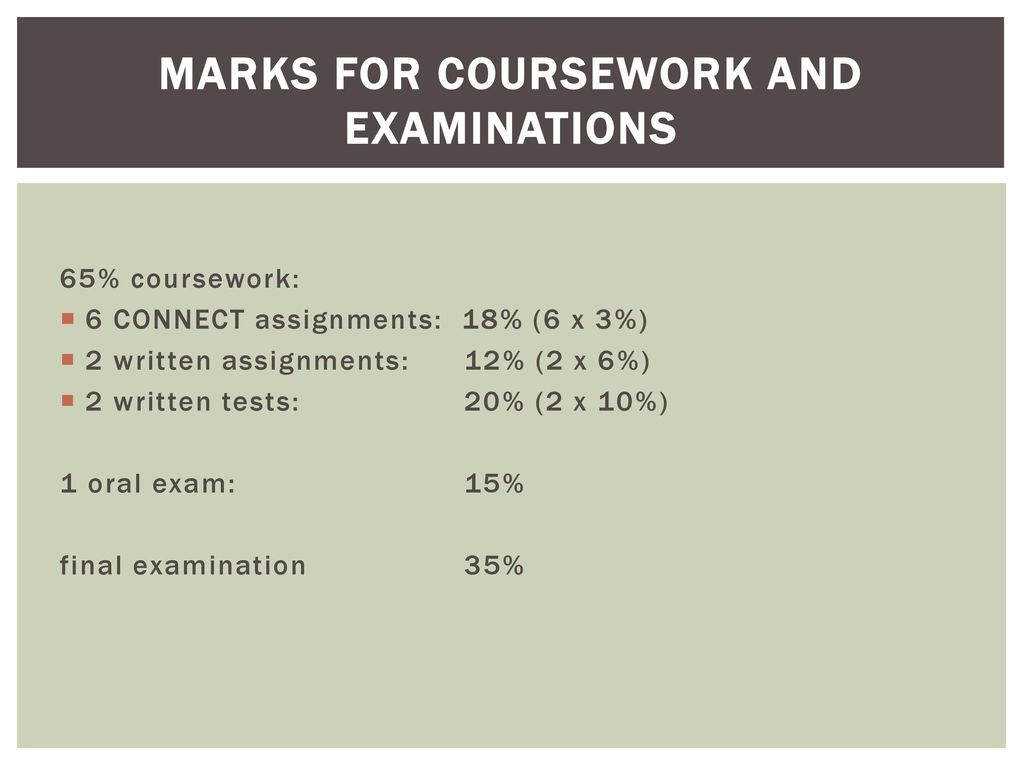Marks for coursework and examinations