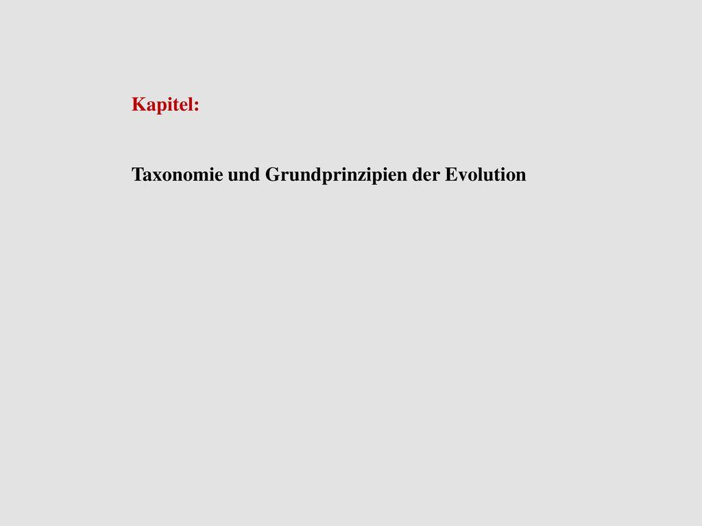 Kapitel: Taxonomie und Grundprinzipien der Evolution