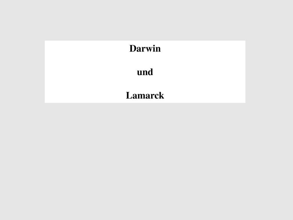 Darwin und Lamarck