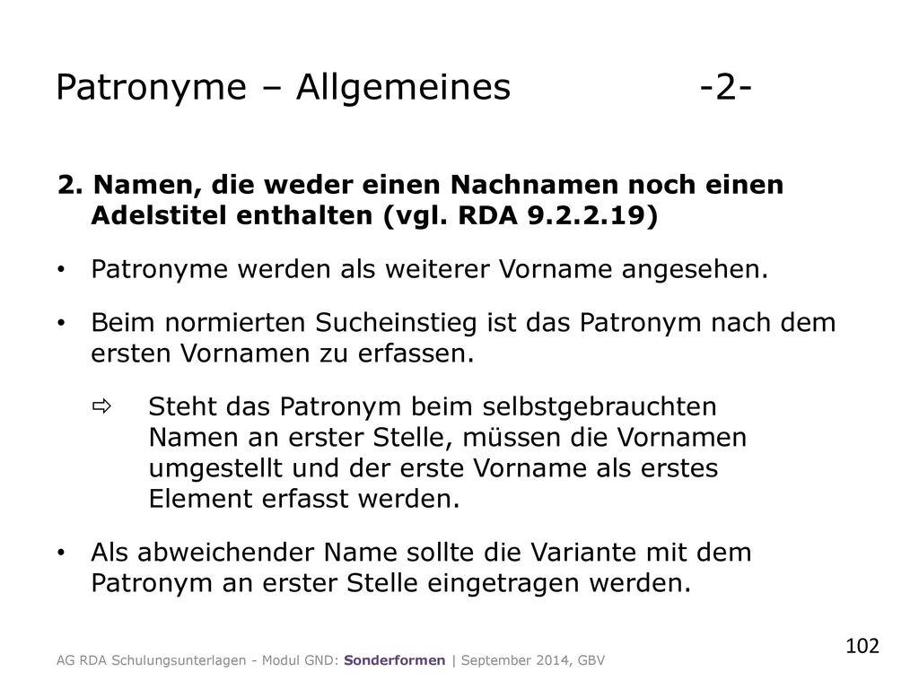 Patronyme – Allgemeines -2-
