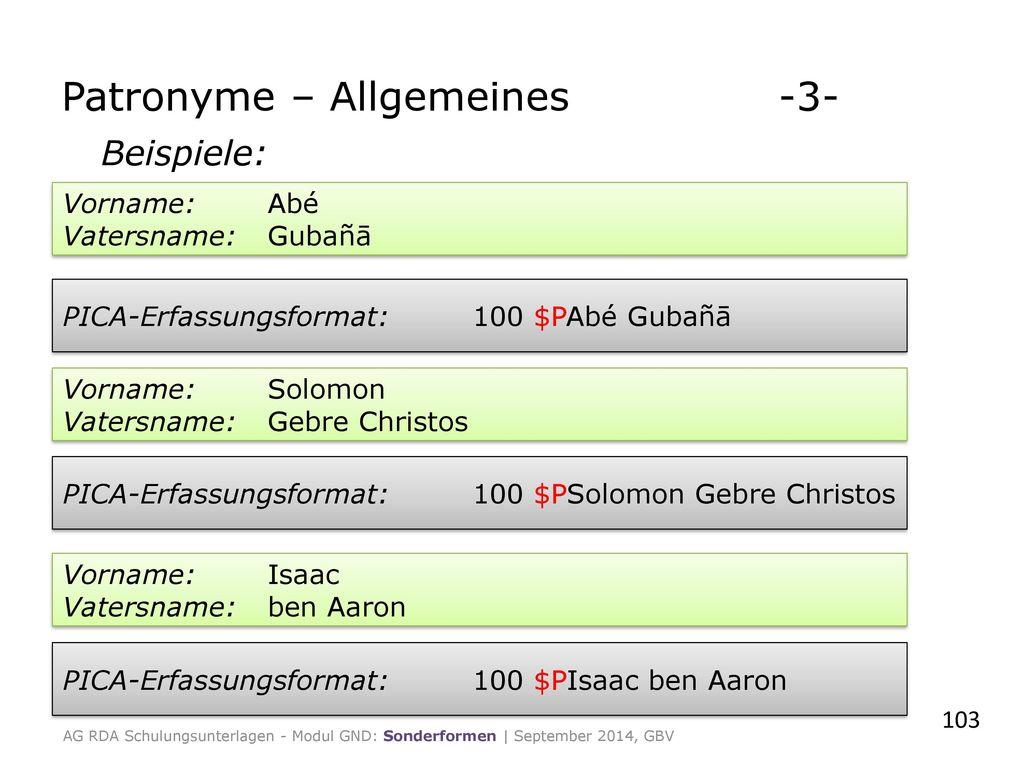 Patronyme – Allgemeines -3-