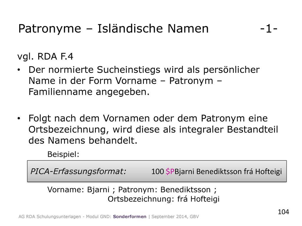 Patronyme – Isländische Namen -1-