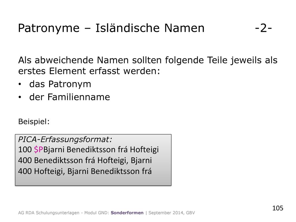 Patronyme – Isländische Namen -2-