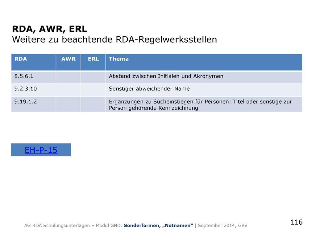RDA, AWR, ERL Weitere zu beachtende RDA-Regelwerksstellen