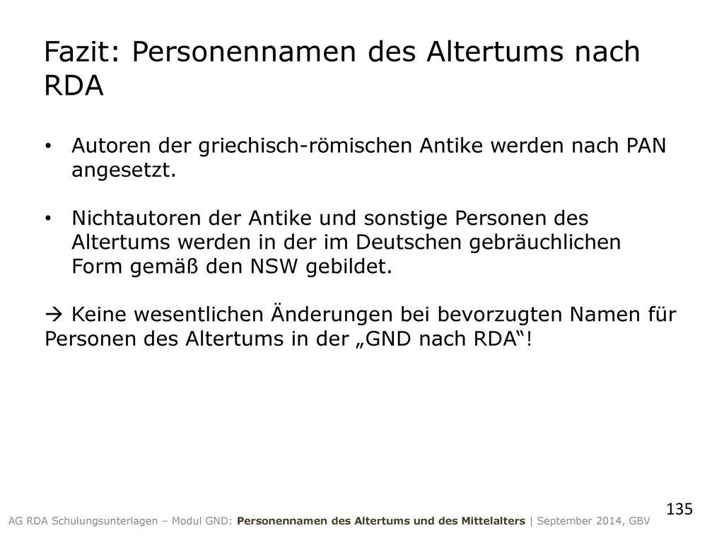 Fazit: Personennamen des Altertums nach RDA