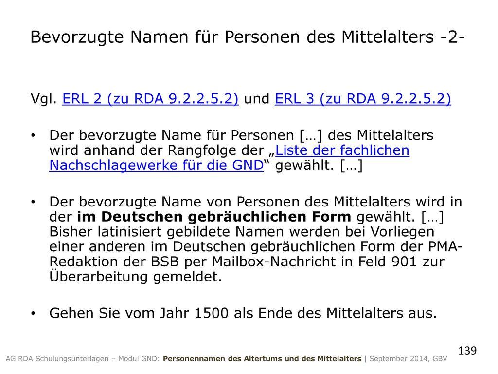 Bevorzugte Namen für Personen des Mittelalters -2-