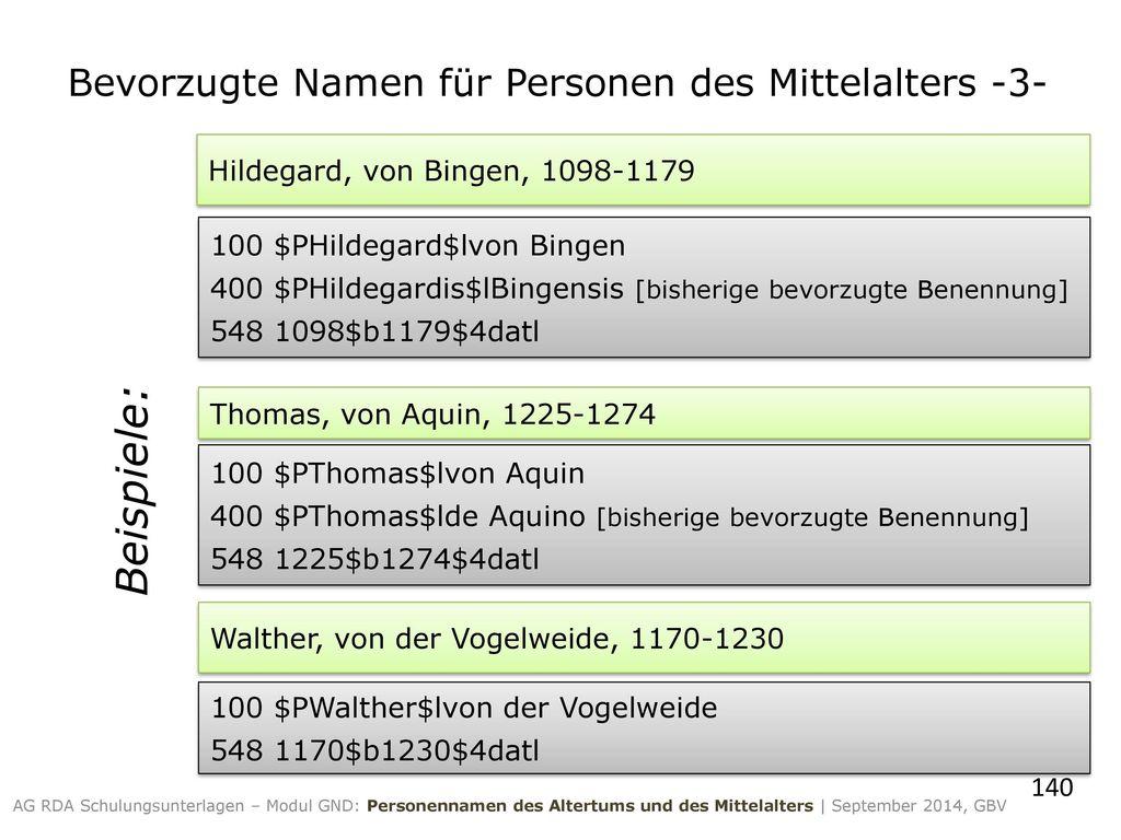 Bevorzugte Namen für Personen des Mittelalters -3-